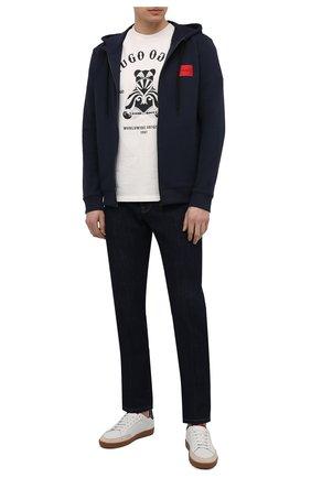 Мужской хлопковая толстовка HUGO темно-синего цвета, арт. 50447972 | Фото 2