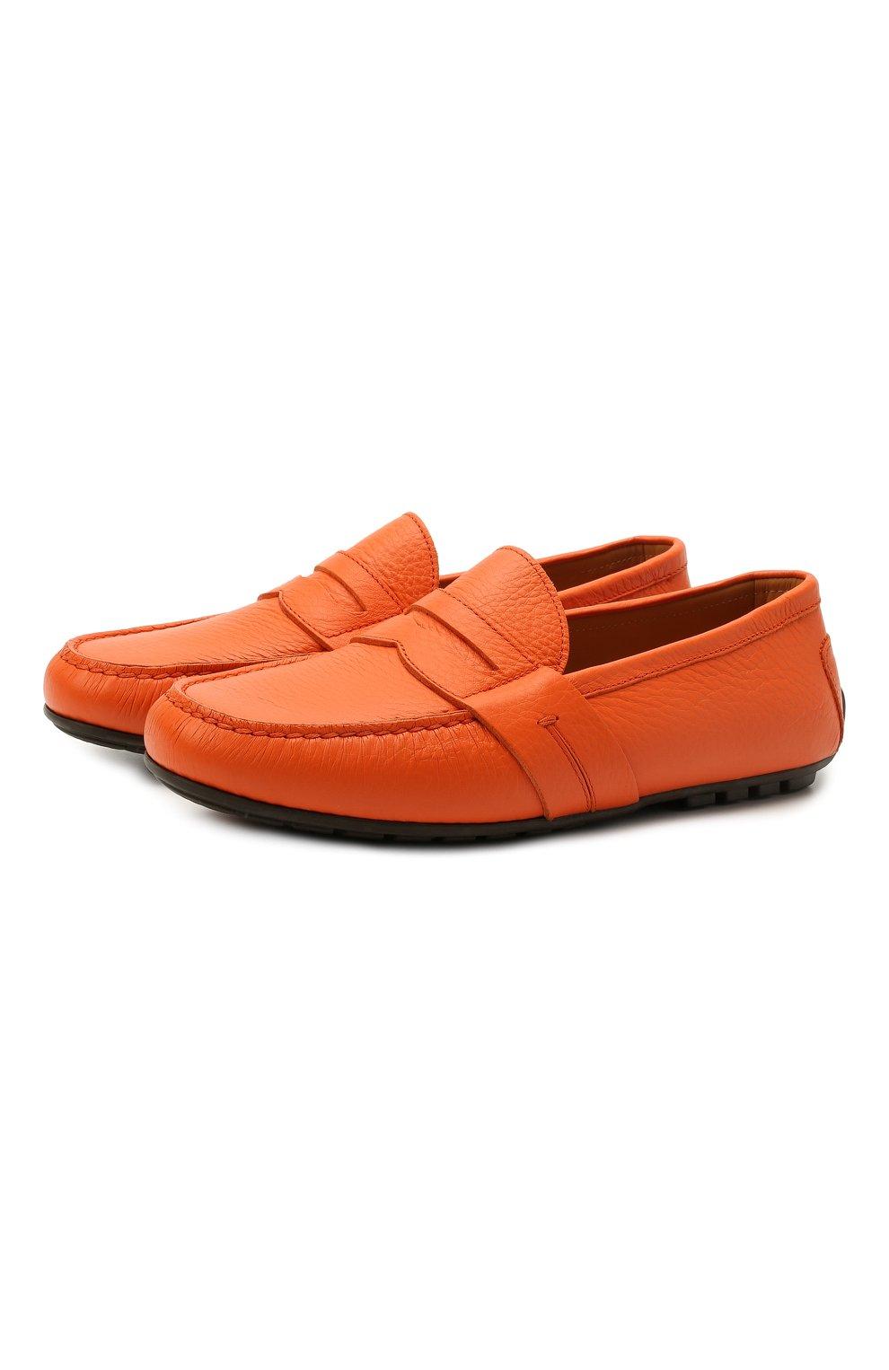 Мужские кожаные мокасины RALPH LAUREN оранжевого цвета, арт. 815835903   Фото 1