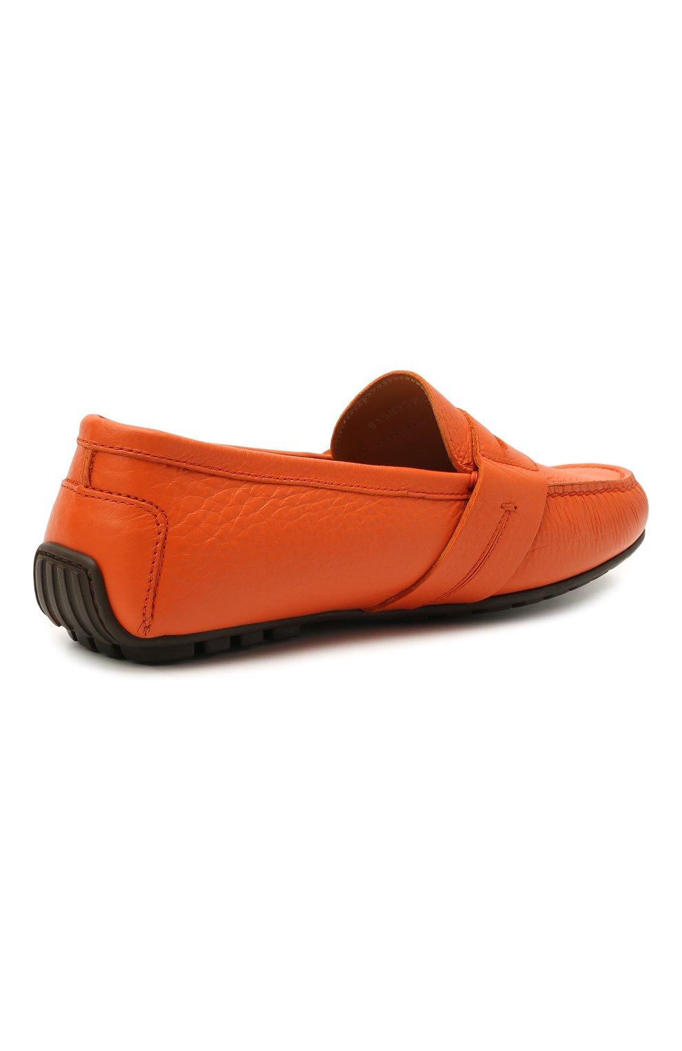 Мужские кожаные мокасины RALPH LAUREN оранжевого цвета, арт. 815835903   Фото 4