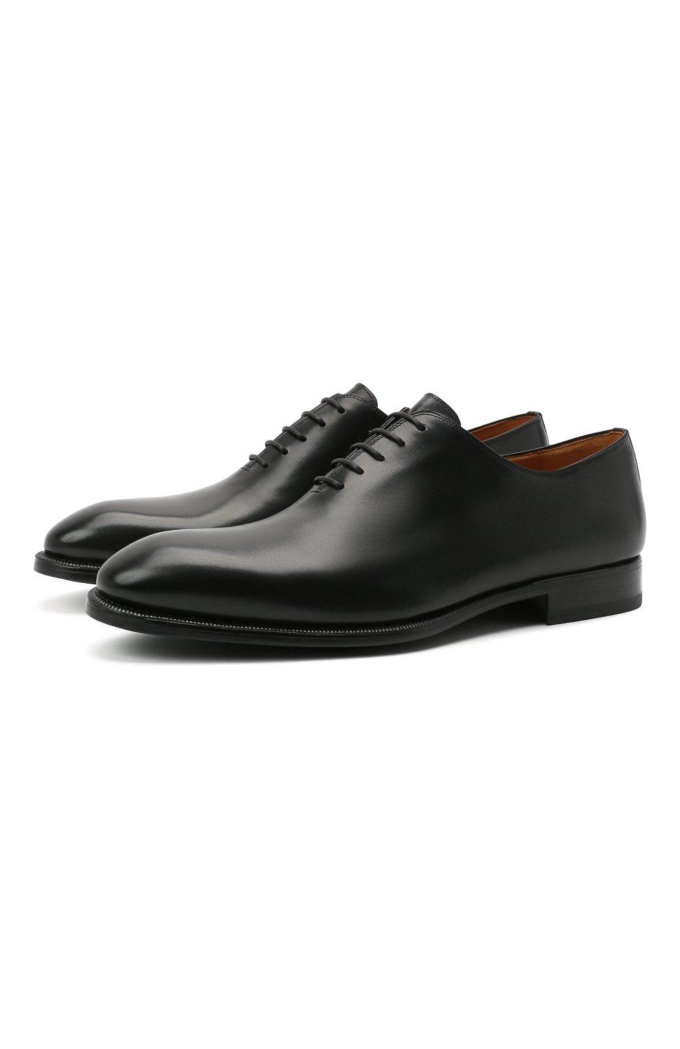 Мужские кожаные оксфорды MAGNANNI черного цвета, арт. 15887/WIND | Фото 1 (Материал внутренний: Натуральная кожа; Стили: Классический)