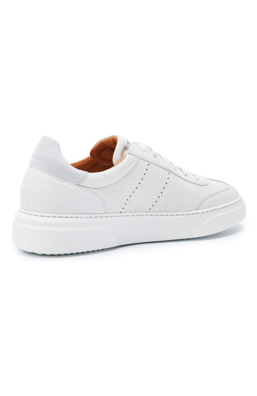 Мужские кожаные кеды MAGNANNI белого цвета, арт. 22444/RUG0   Фото 4 (Материал внутренний: Натуральная кожа; Подошва: Массивная)