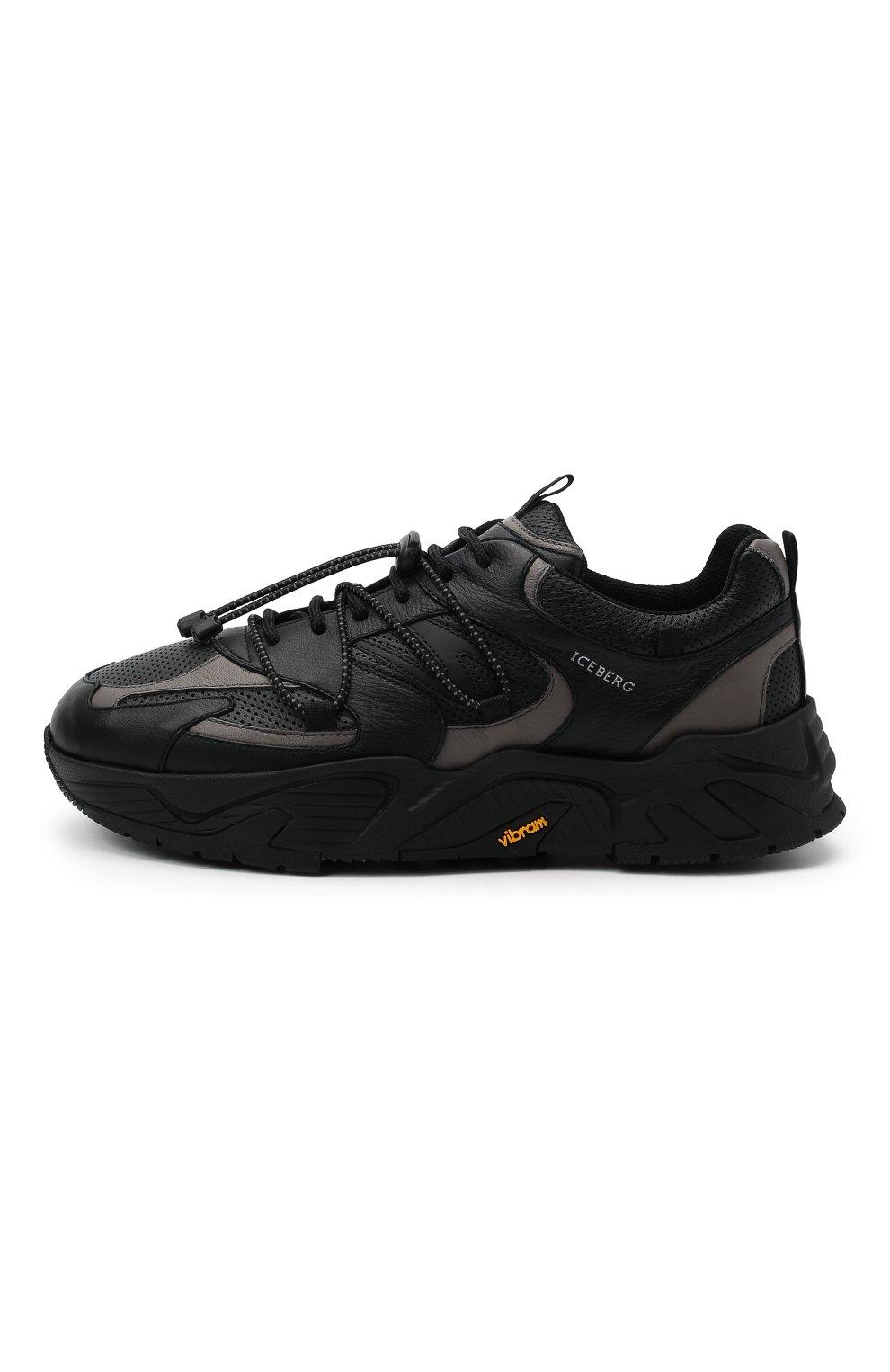 Мужские кожаные кроссовки ICEBERG черного цвета, арт. NIU1404A/SETA C0L0R | Фото 3