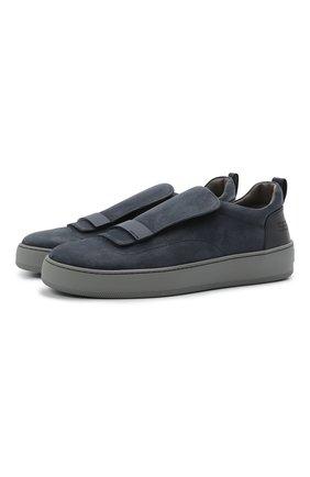 Мужские кожаные слипоны SERGIO ROSSI темно-синего цвета, арт. A86980-MFI340 | Фото 1
