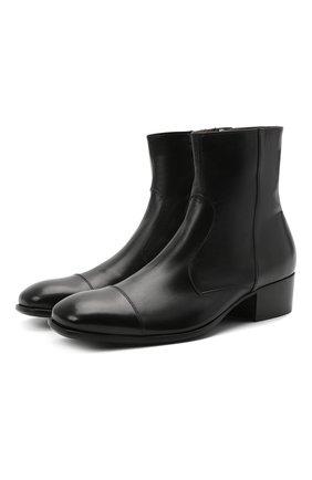 Мужские кожаные сапоги ROCCO P. черного цвета, арт. 12040G/TRIP0N | Фото 1 (Мужское Кросс-КТ: Сапоги-обувь, Казаки-обувь; Подошва: Плоская; Материал внутренний: Натуральная кожа)