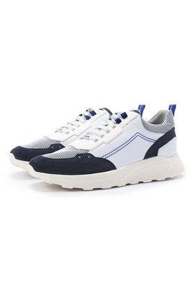 Мужские комбинированные кроссовки JACOB COHEN голубого цвета, арт. NEW SPIRID0N-94002   Фото 1 (Материал внутренний: Натуральная кожа; Подошва: Массивная; Стили: Спорт)