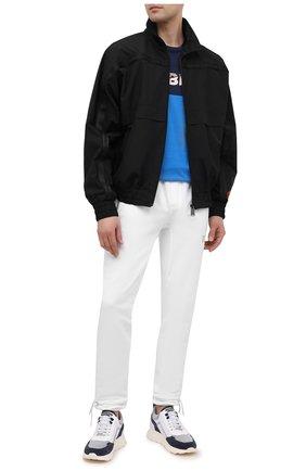 Мужские комбинированные кроссовки JACOB COHEN голубого цвета, арт. NEW SPIRID0N-94002   Фото 2 (Материал внутренний: Натуральная кожа; Подошва: Массивная; Стили: Спорт)