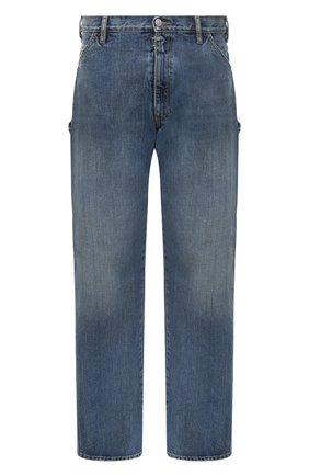 Мужские джинсы MAISON MARGIELA синего цвета, арт. S50LA0176/S30736 | Фото 1 (Длина (брюки, джинсы): Стандартные; Материал внешний: Хлопок; Силуэт М (брюки): Широкие; Кросс-КТ: Деним; Стили: Гранж; Детали: Потертости)