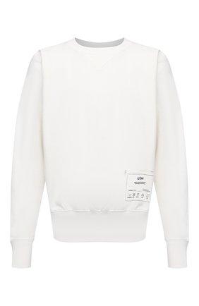 Мужской хлопковый свитшот MAISON MARGIELA белого цвета, арт. S50GU0153/S25508 | Фото 1 (Рукава: Длинные; Длина (для топов): Стандартные; Стили: Гранж; Принт: С принтом; Мужское Кросс-КТ: свитшот-одежда; Материал внешний: Хлопок)