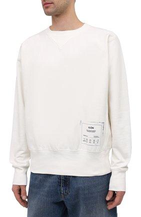 Мужской хлопковый свитшот MAISON MARGIELA белого цвета, арт. S50GU0153/S25508 | Фото 3 (Рукава: Длинные; Длина (для топов): Стандартные; Стили: Гранж; Принт: С принтом; Мужское Кросс-КТ: свитшот-одежда; Материал внешний: Хлопок)