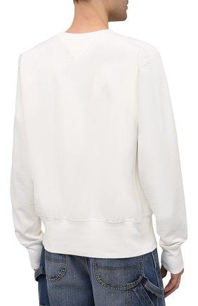 Мужской хлопковый свитшот MAISON MARGIELA белого цвета, арт. S50GU0153/S25508 | Фото 4 (Рукава: Длинные; Длина (для топов): Стандартные; Стили: Гранж; Принт: С принтом; Мужское Кросс-КТ: свитшот-одежда; Материал внешний: Хлопок)