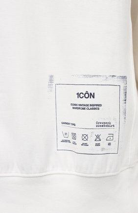 Мужской хлопковый свитшот MAISON MARGIELA белого цвета, арт. S50GU0153/S25508 | Фото 5 (Рукава: Длинные; Длина (для топов): Стандартные; Стили: Гранж; Принт: С принтом; Мужское Кросс-КТ: свитшот-одежда; Материал внешний: Хлопок)