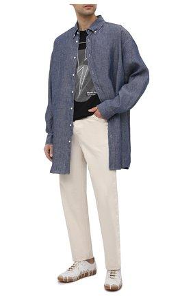 Мужская льняная рубашка MAISON MARGIELA синего цвета, арт. S50DL0469/S53726 | Фото 2
