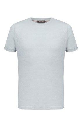 Мужская льняная футболка LORO PIANA светло-голубого цвета, арт. FAL5748 | Фото 1 (Материал внешний: Лен; Рукава: Короткие; Длина (для топов): Стандартные; Принт: Без принта; Стили: Кэжуэл)