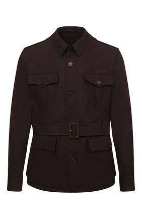 Мужская куртка из хлопка и льна RALPH LAUREN коричневого цвета, арт. 798838200 | Фото 1