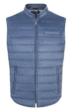 Мужской замшевый жилет ZILLI голубого цвета, арт. MAV-XIT00-01003/0001 | Фото 1 (Материал подклада: Шелк; Длина (верхняя одежда): Короткие; Стили: Кэжуэл; Кросс-КТ: Куртка; Материал внешний: Замша)