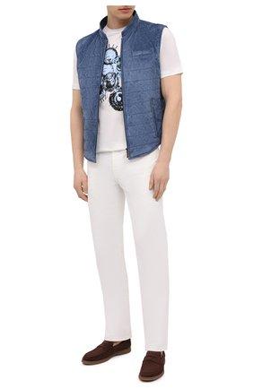 Мужской замшевый жилет ZILLI голубого цвета, арт. MAV-XIT00-01003/0001 | Фото 2 (Материал подклада: Шелк; Длина (верхняя одежда): Короткие; Стили: Кэжуэл; Кросс-КТ: Куртка; Материал внешний: Замша)