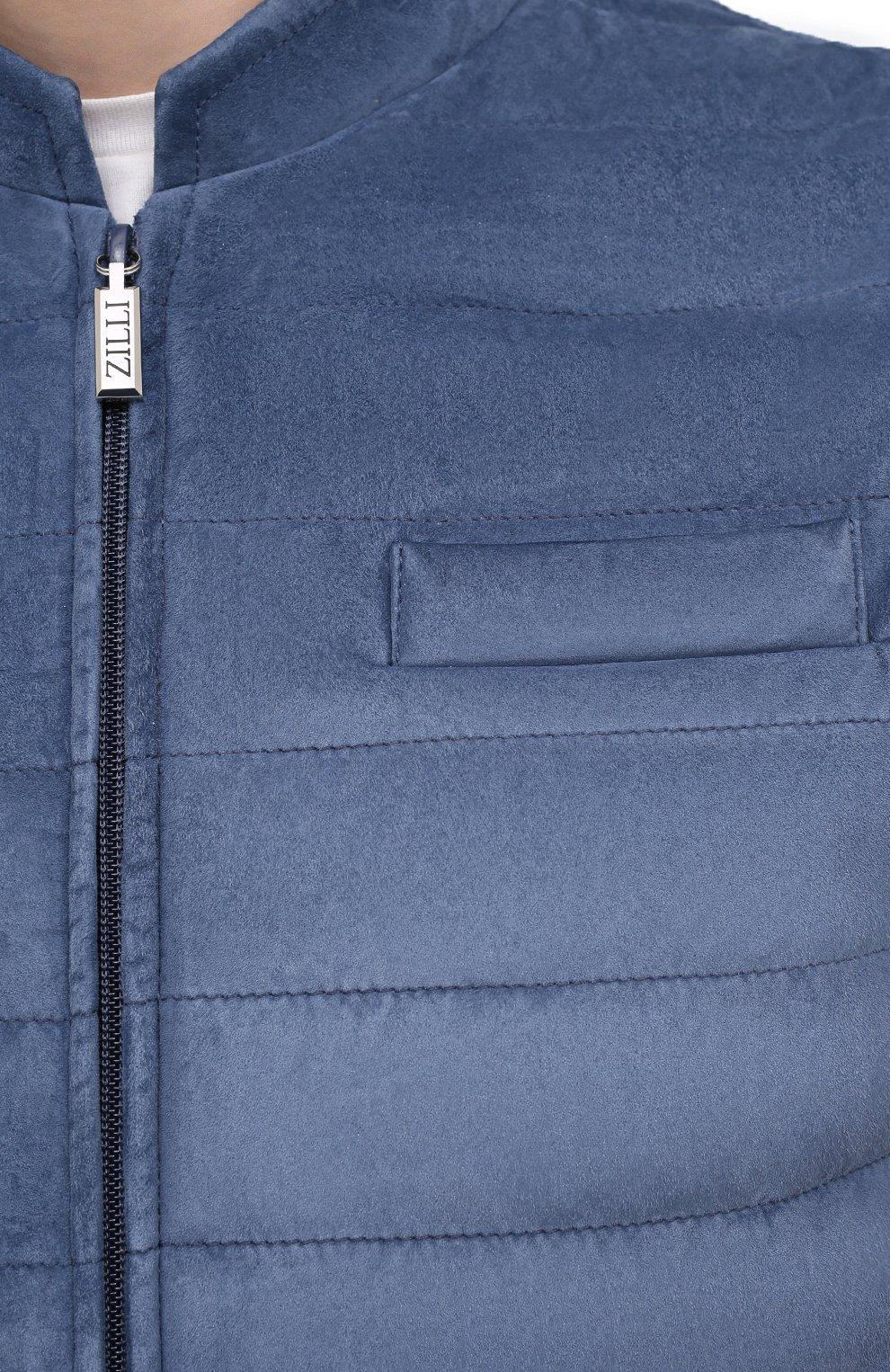 Мужской замшевый жилет ZILLI голубого цвета, арт. MAV-XIT00-01003/0001   Фото 5