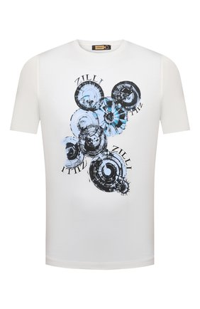 Мужская хлопковая футболка ZILLI белого цвета, арт. MEV-NT270-BUBB1/MC0 | Фото 1 (Материал внешний: Хлопок; Длина (для топов): Стандартные; Рукава: Короткие; Принт: С принтом; Стили: Кэжуэл)