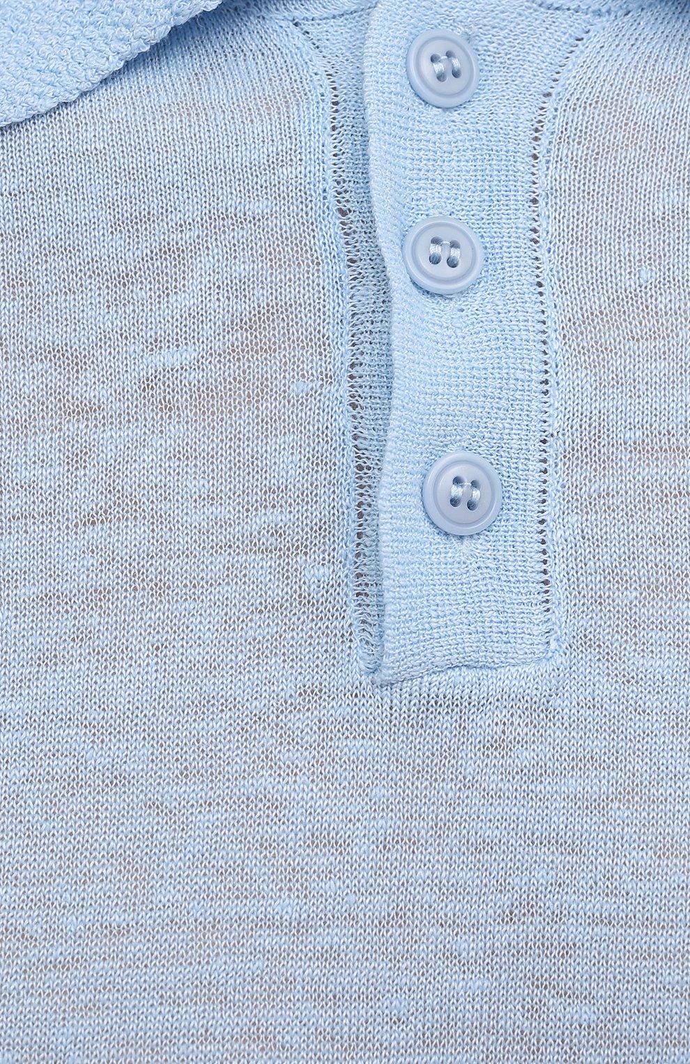 Мужское льняное поло DANIELE FIESOLI голубого цвета, арт. DF 7027   Фото 5 (Застежка: Пуговицы; Рукава: Короткие; Длина (для топов): Стандартные; Кросс-КТ: Трикотаж; Материал внешний: Лен; Стили: Кэжуэл)