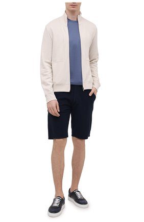 Мужские хлопковые шорты DANIELE FIESOLI темно-синего цвета, арт. DF 7103 | Фото 2 (Материал внешний: Хлопок; Длина Шорты М: До колена; Кросс-КТ: Трикотаж; Принт: Без принта; Стили: Спорт-шик)