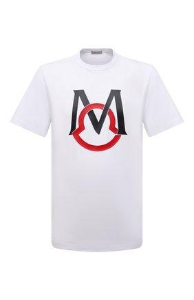 Мужская хлопковая футболка MONCLER белого цвета, арт. G1-091-8C7E1-20-8390T | Фото 1 (Материал внешний: Хлопок; Длина (для топов): Стандартные; Принт: С принтом; Стили: Кэжуэл; Рукава: Короткие)