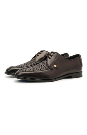 Мужские кожаные дерби ZILLI коричневого цвета, арт. MDT-B065/003 | Фото 1 (Материал внешний: Кожа; Материал внутренний: Натуральная кожа; Стили: Классический)