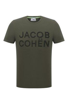 Мужская хлопковая футболка JACOB COHEN хаки цвета, арт. J4106 01107-S/55 | Фото 1 (Материал внешний: Хлопок; Длина (для топов): Стандартные; Принт: С принтом; Рукава: Короткие; Стили: Кэжуэл)