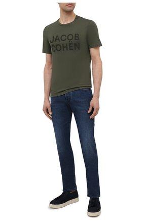 Мужская хлопковая футболка JACOB COHEN хаки цвета, арт. J4106 01107-S/55 | Фото 2 (Материал внешний: Хлопок; Длина (для топов): Стандартные; Принт: С принтом; Рукава: Короткие; Стили: Кэжуэл)