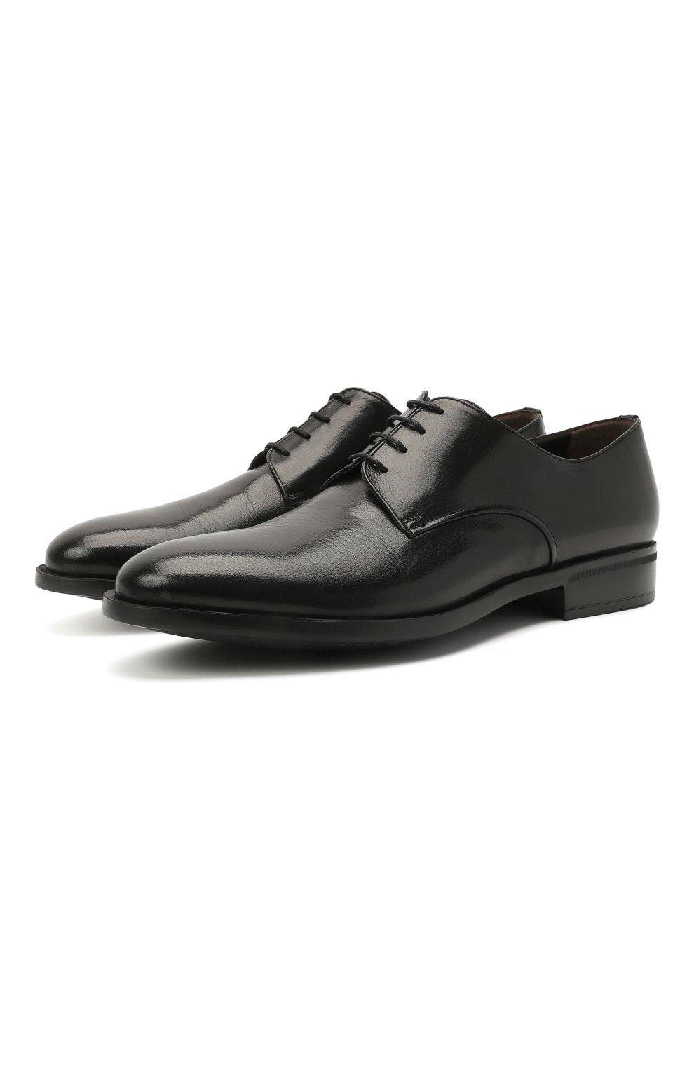 Мужские кожаные дерби MORESCHI черного цвета, арт. 90042362P0001/C0RK   Фото 1 (Материал внутренний: Натуральная кожа; Стили: Классический)