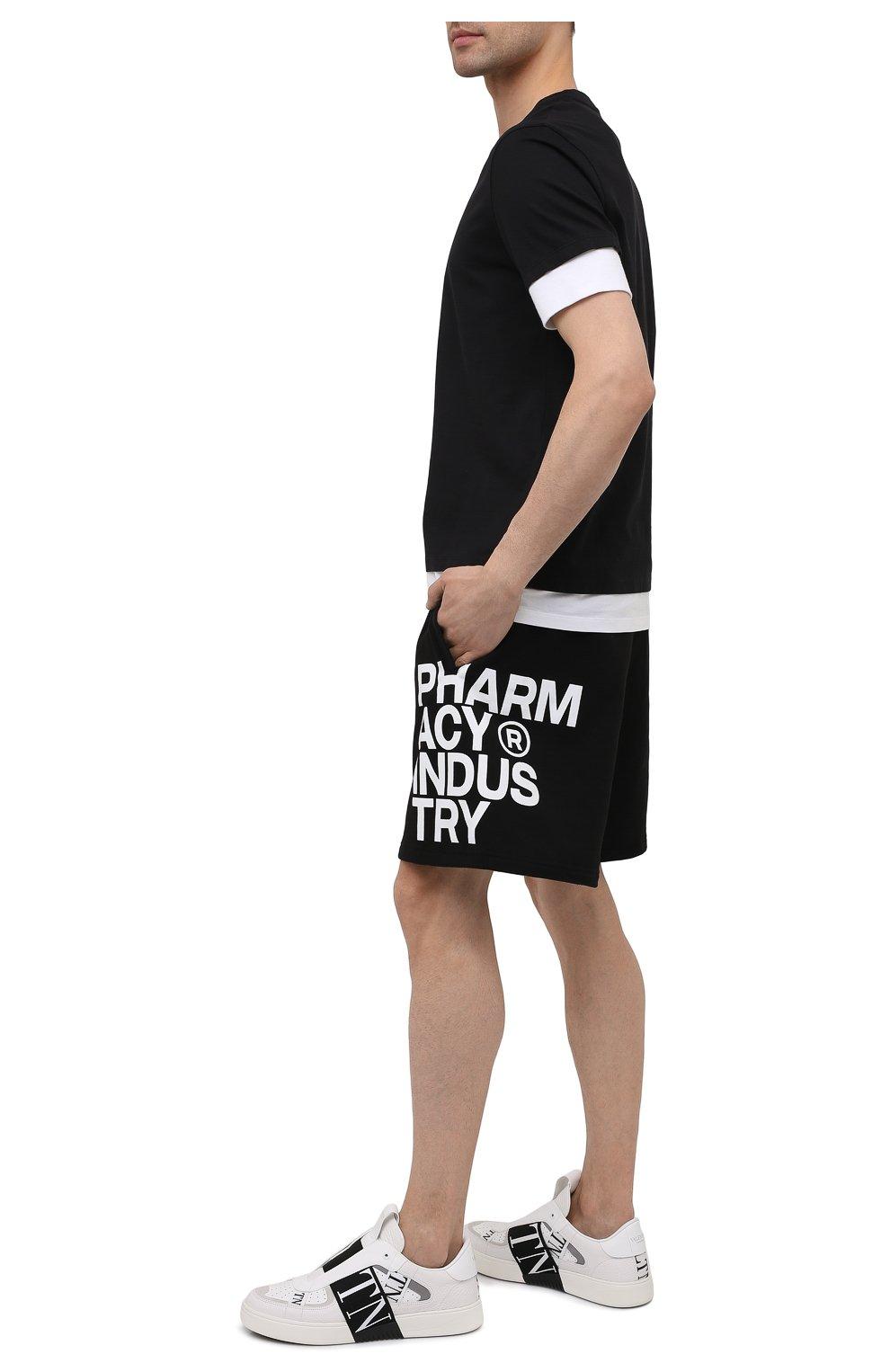 Мужские хлопковые шорты PHARMACY INDUSTRY черно-белого цвета, арт. PHM206 | Фото 2