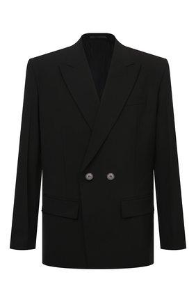 Мужской пиджак VALENTINO черного цвета, арт. VV0CEC806DP | Фото 1 (Длина (для топов): Стандартные; Случай: Вечерний; Материал внешний: Синтетический материал, Шерсть; Материал подклада: Купро; Рукава: Длинные; Пиджаки М: Свободный; Стили: Минимализм; 1-2-бортные: Двубортные)