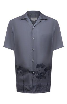 Мужская шелковая рубашка BRIONI темно-синего цвета, арт. SCCI0L/P042N   Фото 1 (Рукава: Короткие; Принт: С принтом; Материал внешний: Шелк; Длина (для топов): Стандартные; Случай: Повседневный; Стили: Кэжуэл; Воротник: Отложной)