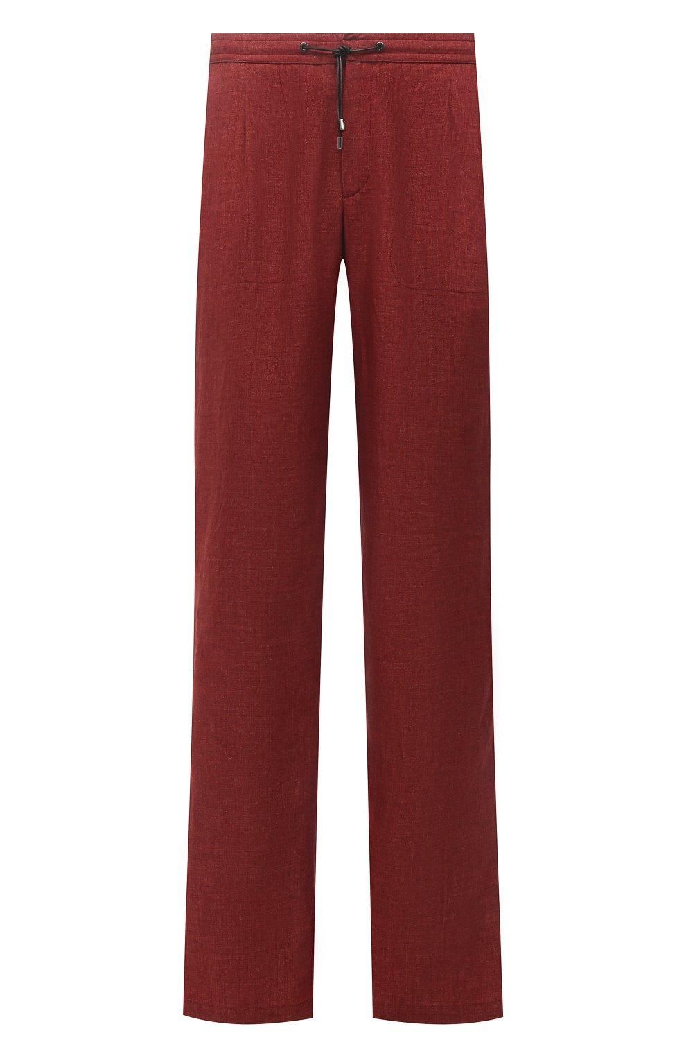 Мужские льняные брюки BRIONI бордового цвета, арт. RPMJ0M/P6114/NEW JAMAICA | Фото 1 (Длина (брюки, джинсы): Стандартные; Случай: Повседневный; Материал внешний: Лен; Стили: Кэжуэл)