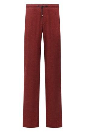 Мужские льняные брюки BRIONI бордового цвета, арт. RPMJ0M/P6114/NEW JAMAICA | Фото 1