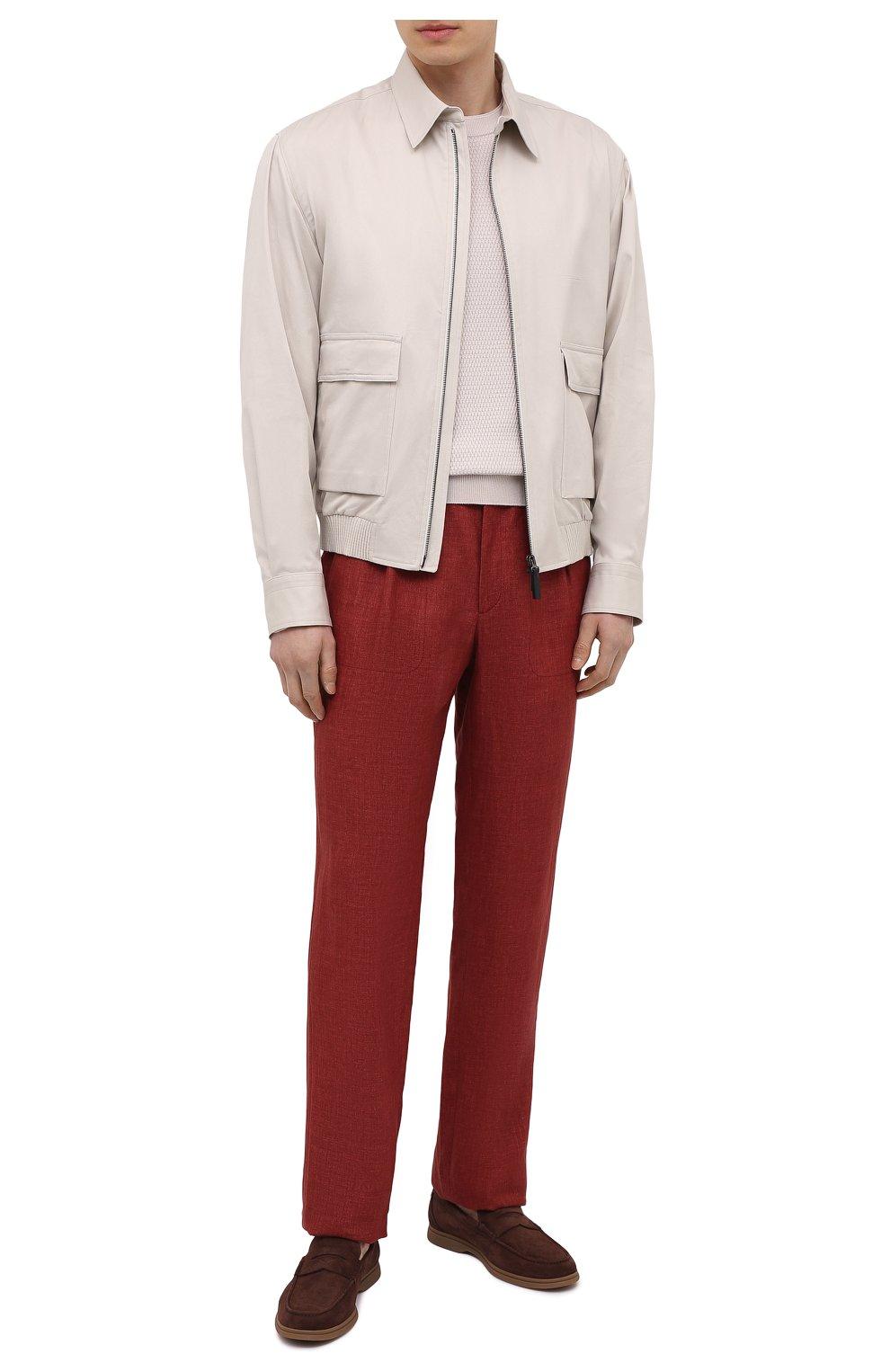 Мужские льняные брюки BRIONI бордового цвета, арт. RPMJ0M/P6114/NEW JAMAICA | Фото 2 (Длина (брюки, джинсы): Стандартные; Случай: Повседневный; Материал внешний: Лен; Стили: Кэжуэл)