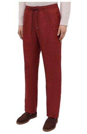 Мужские льняные брюки BRIONI бордового цвета, арт. RPMJ0M/P6114/NEW JAMAICA | Фото 3 (Длина (брюки, джинсы): Стандартные; Случай: Повседневный; Материал внешний: Лен; Стили: Кэжуэл)