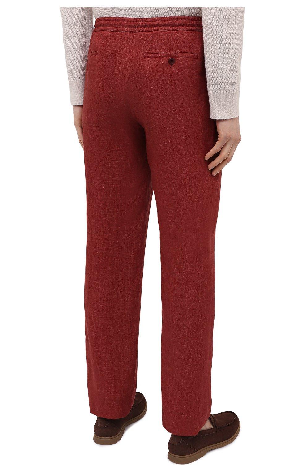 Мужские льняные брюки BRIONI бордового цвета, арт. RPMJ0M/P6114/NEW JAMAICA | Фото 4 (Длина (брюки, джинсы): Стандартные; Случай: Повседневный; Материал внешний: Лен; Стили: Кэжуэл)