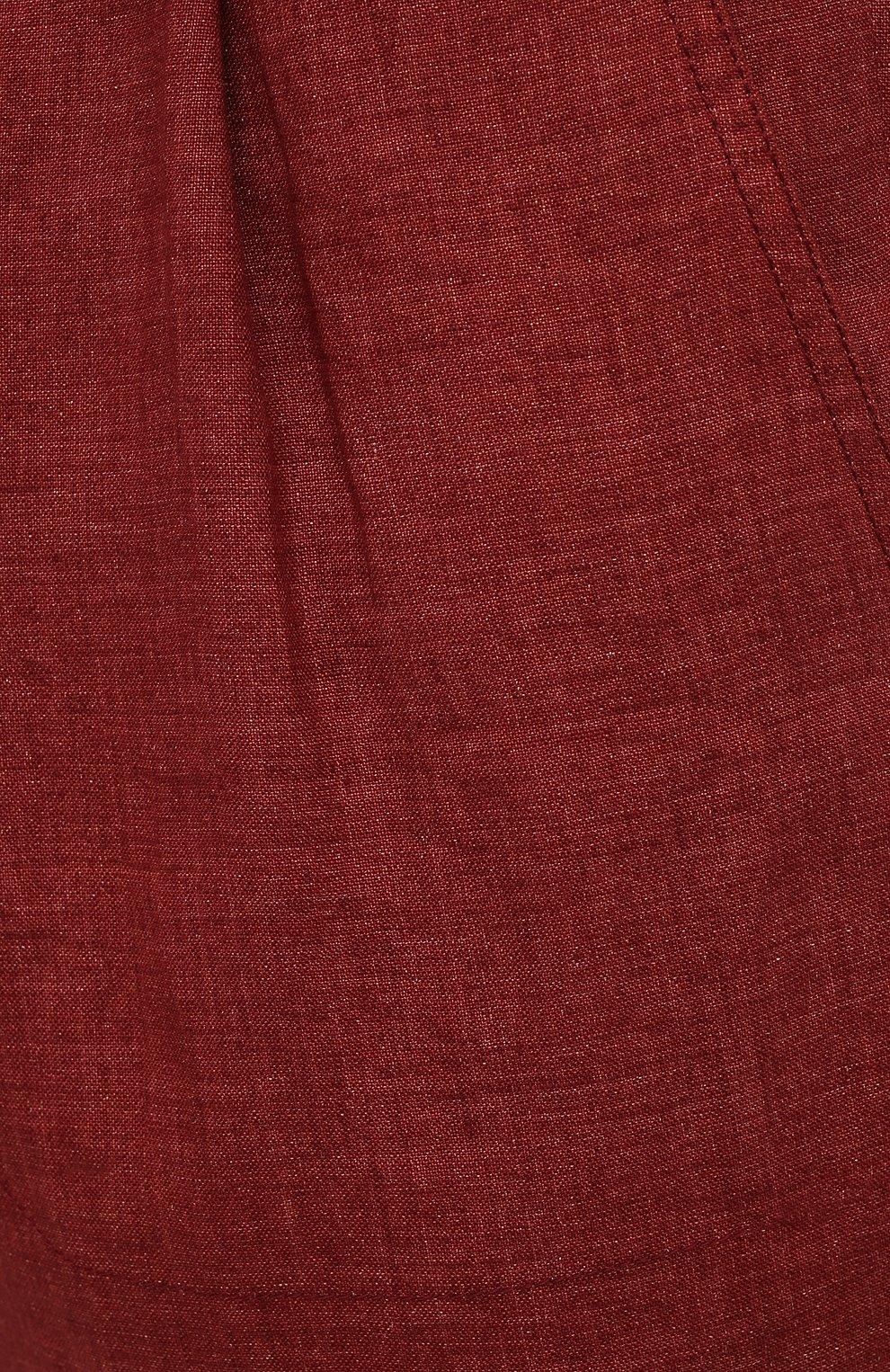 Мужские льняные брюки BRIONI бордового цвета, арт. RPMJ0M/P6114/NEW JAMAICA | Фото 5 (Длина (брюки, джинсы): Стандартные; Случай: Повседневный; Материал внешний: Лен; Стили: Кэжуэл)