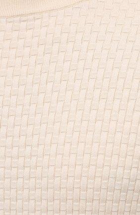 Мужской джемпер из хлопка и шелка BRIONI кремвого цвета, арт. UMQ90L/P0K16   Фото 5