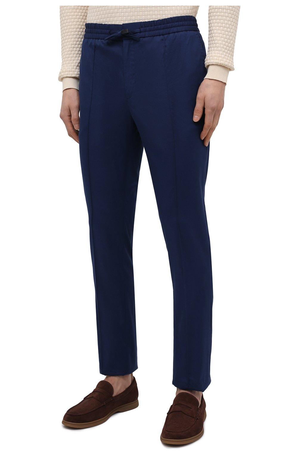 Мужские хлопковые брюки BRIONI темно-синего цвета, арт. RPM20L/P0009/NEW SIDNEY | Фото 3