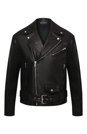 Мужская кожаная куртка PALM ANGELS черного цвета, арт. PMJG007S21LEA0011018 | Фото 1