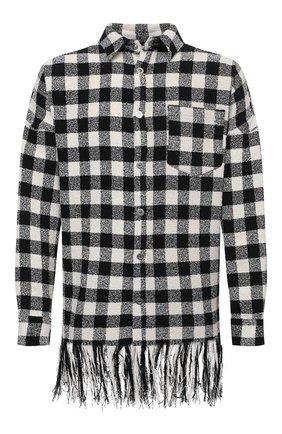 Мужская рубашка PALM ANGELS черно-белого цвета, арт. PMEA162S21FAB0011001 | Фото 1 (Рукава: Длинные; Принт: Клетка; Материал внешний: Хлопок, Синтетический материал; Случай: Повседневный; Манжеты: На пуговицах; Стили: Гранж; Воротник: Кент; Длина (для топов): Удлиненные)