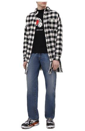 Мужская рубашка PALM ANGELS черно-белого цвета, арт. PMEA162S21FAB0011001 | Фото 2 (Рукава: Длинные; Принт: Клетка; Материал внешний: Хлопок, Синтетический материал; Случай: Повседневный; Манжеты: На пуговицах; Стили: Гранж; Воротник: Кент; Длина (для топов): Удлиненные)