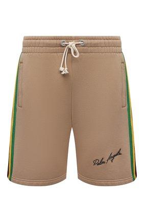 Мужские хлопковые шорты PALM ANGELS бежевого цвета, арт. PMCI010S21FLE0018501 | Фото 1