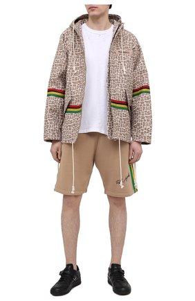 Мужские хлопковые шорты PALM ANGELS бежевого цвета, арт. PMCI010S21FLE0018501 | Фото 2