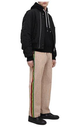 Мужские хлопковые брюки PALM ANGELS бежевого цвета, арт. PMCG002S21FAB0046161 | Фото 2