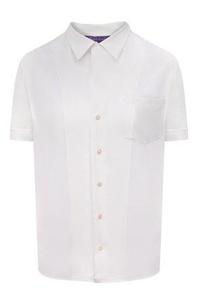 Женская шелковая рубашка RALPH LAUREN белого цвета, арт. 290840121 | Фото 1 (Материал внешний: Шелк; Длина (для топов): Стандартные; Стили: Кэжуэл; Рукава: Короткие; Принт: Без принта; Женское Кросс-КТ: Рубашка-одежда)