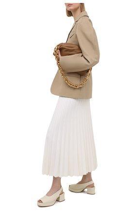 Женские кожаные босоножки stack BOTTEGA VENETA светло-бежевого цвета, арт. 658957/VBP40 | Фото 2