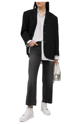 Женские кожаные кеды lou spikes CHRISTIAN LOUBOUTIN белого цвета, арт. 1210873/L0U SPIKES W0MAN FLAT | Фото 2