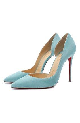 Женские замшевые туфли iriza 100 CHRISTIAN LOUBOUTIN бирюзового цвета, арт. 3130523/IRIZA 100   Фото 1